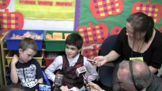 Kids Interviewed as Prime Minister Stephen Harper visits Kensington School in Edmonton
