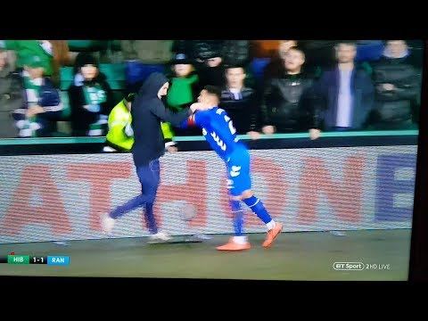 Player gets attacked by fan Rangers v Hibs 8 March 2019