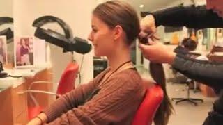 haircut on long brunette hair to a pixie cut