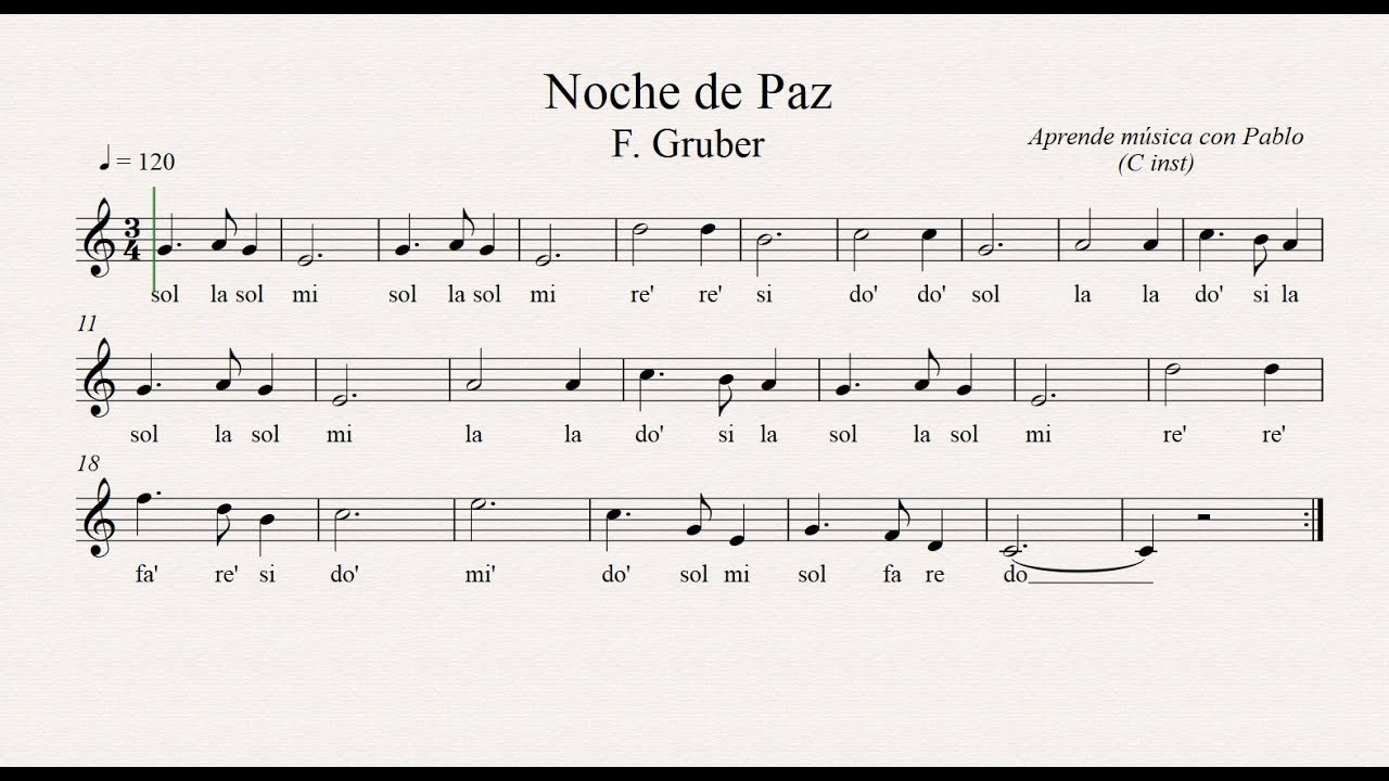 Noche De Paz Flauta Violín Oboe Partitura Con Playback Youtube