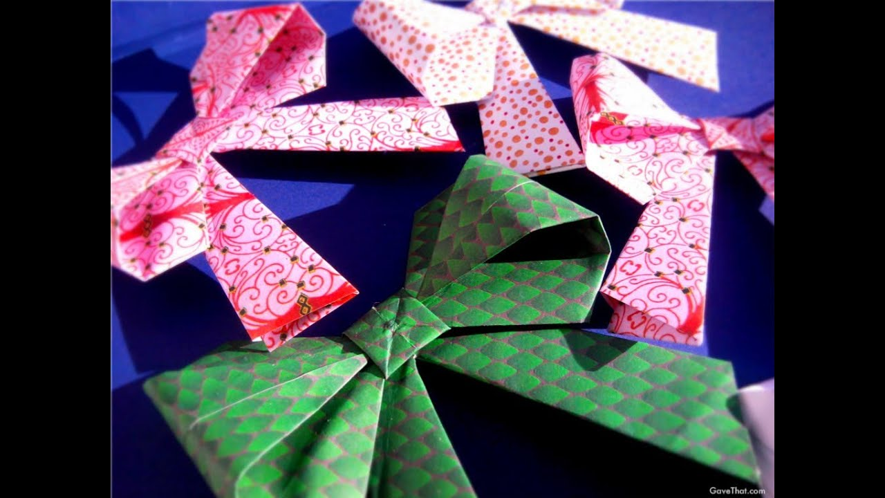 How To Origami Paper Gift Bows Youtube