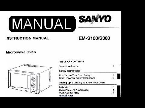 Instruction Manual For Microwave Oven