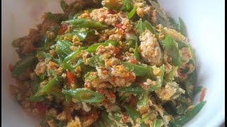 cara membuat Tumis Buncis Telur sederhana  (how to make a simple egg Sauteed Green Beans)