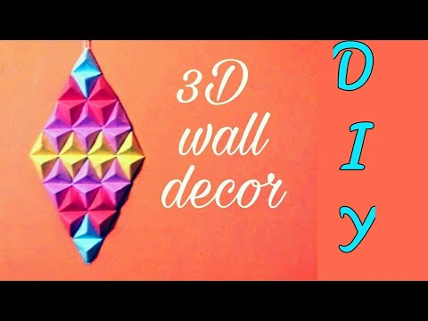 How to made origami paper pyramid- craft with paper | wall art - creative paper craft idea