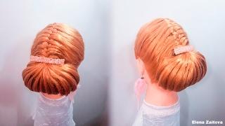 Прическа вечерняя на длинные волосы косичка колосок и объемный валик