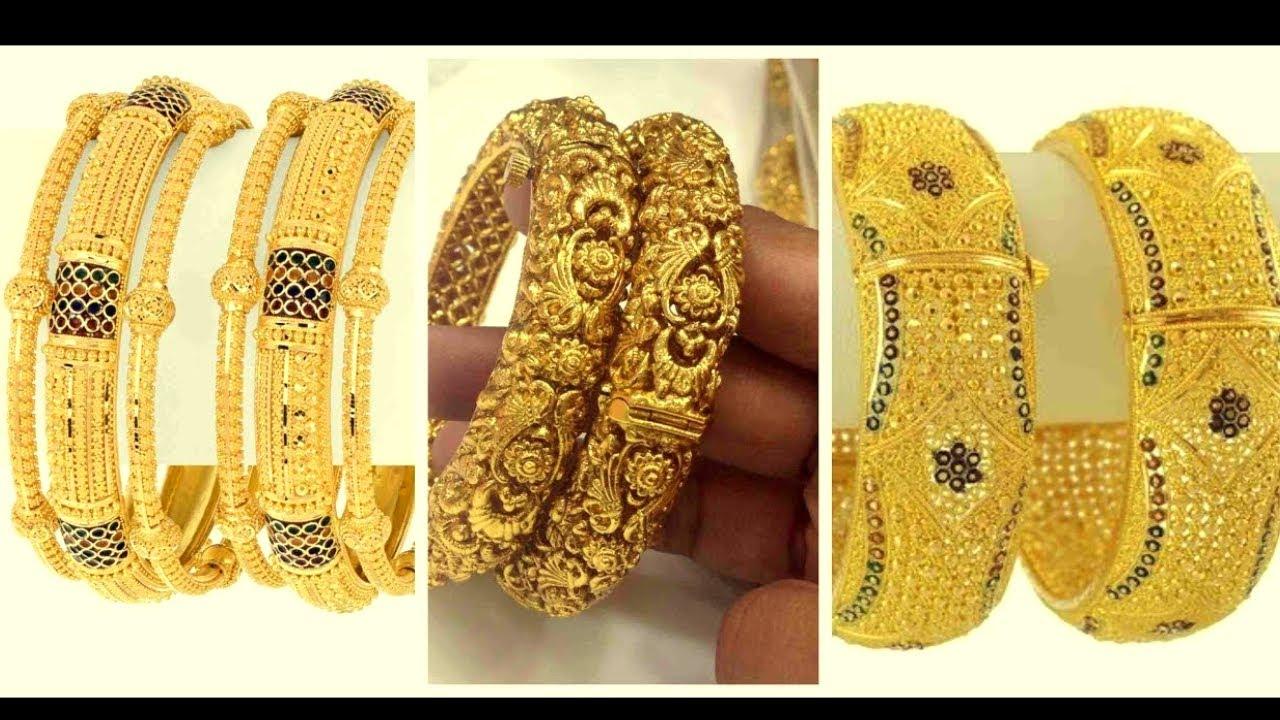 Latest Gold Kangan Unique Designs 2019 2020 Gold Kada Designs