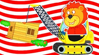 Lion Family | Pretend Play with Toy Tow Truck. Playhouse on the Tree | Cartoon for Kids