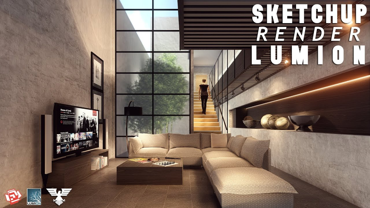 Sketchup Render Lumion 6 46 Living Room 4 Youtube