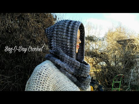 Learn How To #Crochet The Cobblestone Infinity Scarf with Detachable Hood TUTORIAL #367