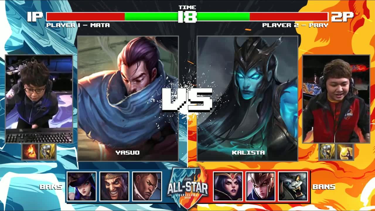 LMHT Feed - Mata Yasuo vs PraY Kalista - Round 2 1v1 Tournament All-Stars  2016 - China vs Korea