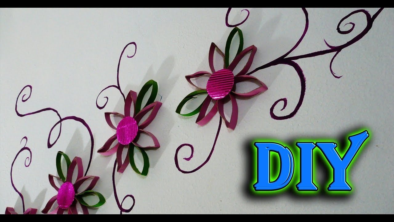 diy decora tu pared con flores reciclando cartones del rollo de papel youtube