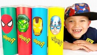 프링글스 그림 그리면 슈퍼히어로 댄스 춤 춘다고? Making Pringles with Superheros dance   말이야와아이들 Mark and Toys