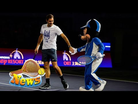 Roger federer gears up for shanghai masters by dancing on court with mickey mouse