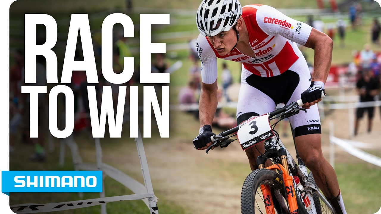 mathieu van der poel races to win on xtr m9100 shimano