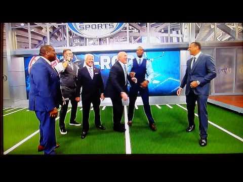 Alex Rodriguez throws football on FOX set, breaks screen