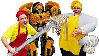 Смешные видео для детей - Готовить еду/ Игры и Трансформеры