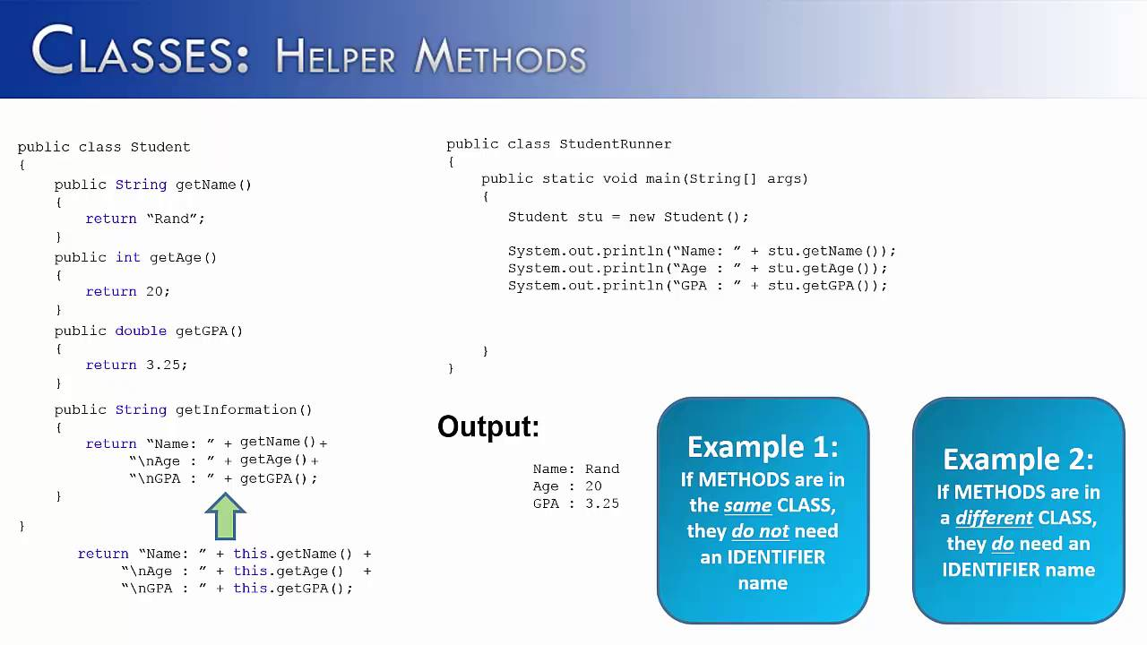 Classes Part 9: Helper Methods (Java)