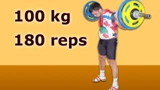 Сергей Рачинский. Присед 100 кг на 180 раз.