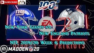 New York Giants vs. New England Patriots   NFL 2019-20 Week 6   Predictions Madden NFL 20