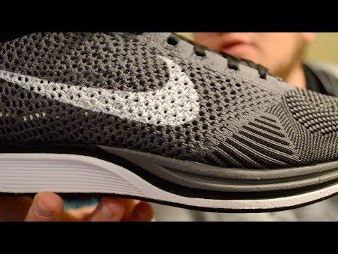 f9d89d40e8087 Nike Flyknit Racer Dark Grey- 526628 010 - YouTube