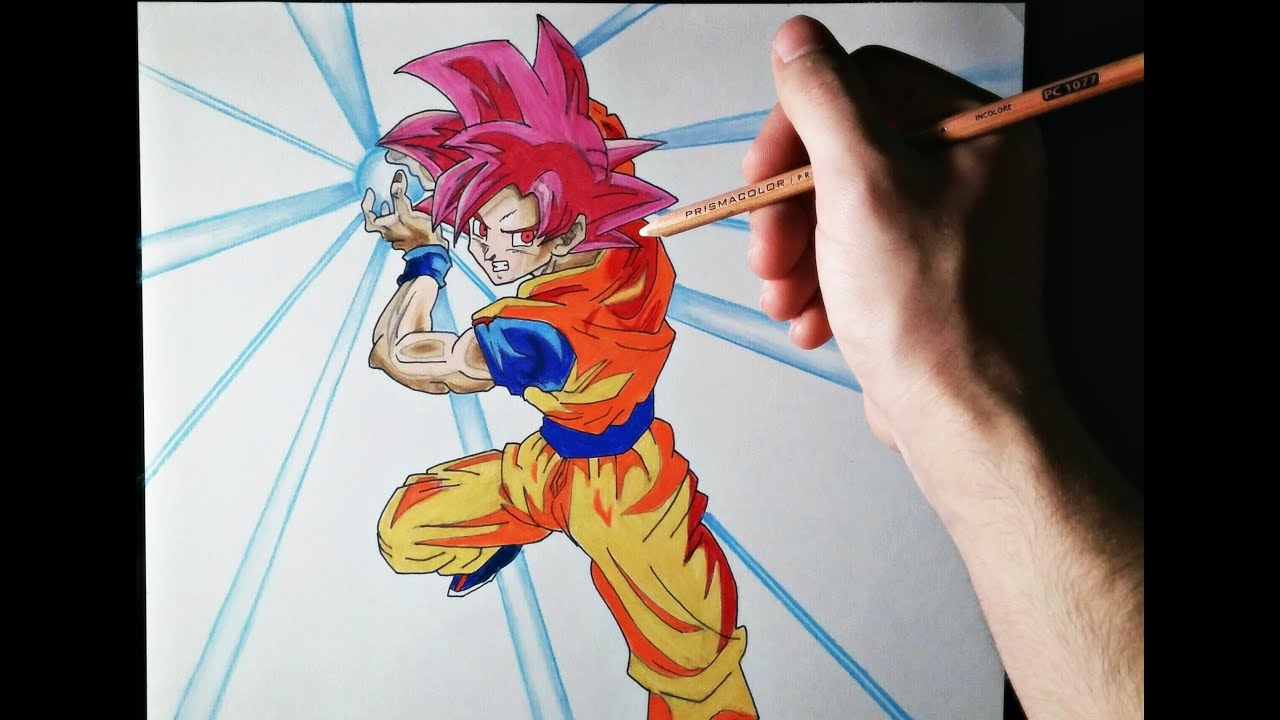 Cmo dibujar a Goku modo Dios  ArteMaster  How to draw Goku God