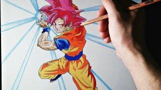 Cómo dibujar a Goku modo Dios | ArteMaster | How to draw Goku God Mode | Dragon Ball