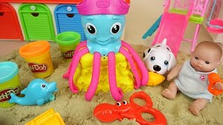 Play doh Octopus and baby doll sand toys play