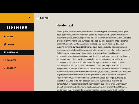Animated Sidebar Menu using html css & Javascript