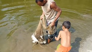 Believe this Net Fishing? Catching lot of Fish using Cast net | Fishing in a Village Pond (Part-3)