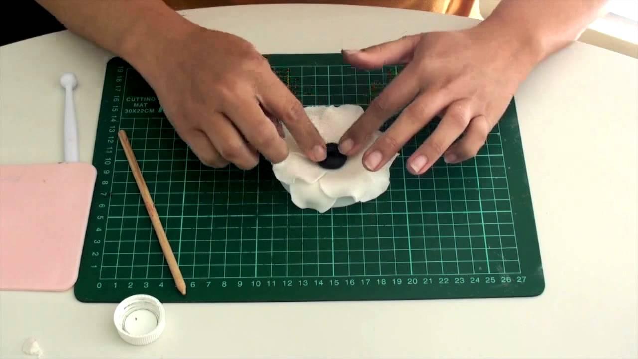 Tutorial Anemone Flower Gumpaste For Decorating Fondant Cake Youtube