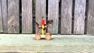 German Folk Art Horse and Rider on Wheels