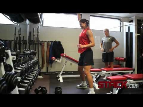 Hope Solo Workout: Single Arm Dumbbell Snatch with Depth Box Jumps Exercise