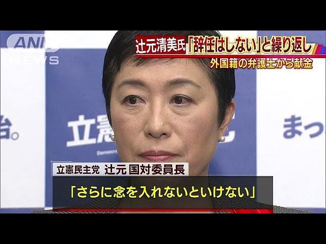 外国人献金がわかった辻元氏 党役職の辞任は否定(19/02/07) - YouTube