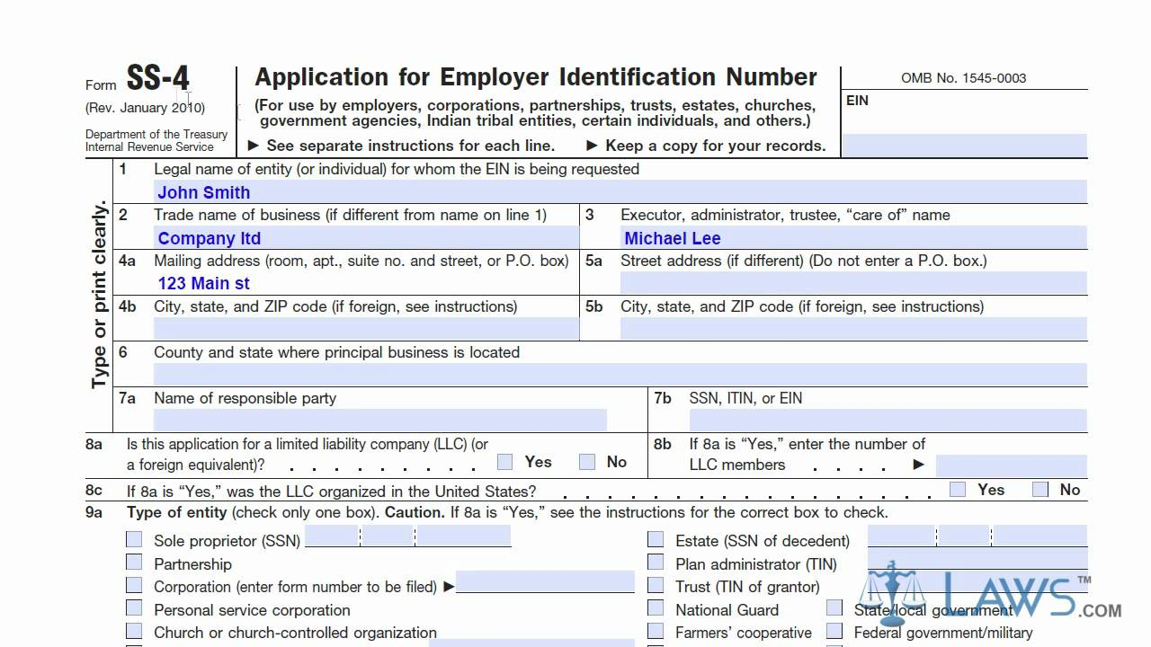Learn How to Fill the Form SS 4 Application for EIN - YouTube