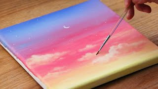 🎨Colorful Sky & Cloud Painting | Step by step Acrylic Painting #190