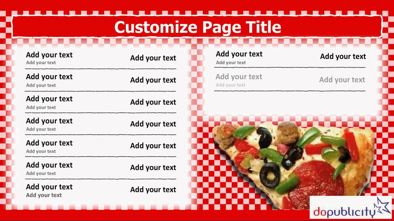 Pizza Shop Menu Template Geccetackletartsco - Powerpoint menu template