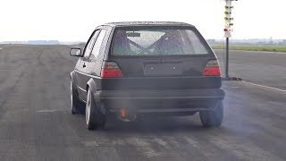 736HP Volkswagen Golf 2 VR6 Turbo 4Motion Brutal Launches!