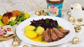 Weihnachtsmenü -  Back-Camembert auf Feldsalat / Entenbrust / Hot Brownie mit Eis
