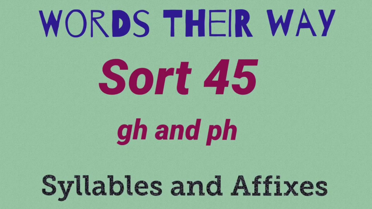 Sort 45 - gh and ph (syllables and affixes)