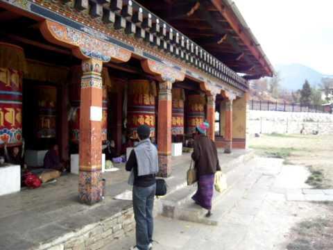 Prayer wheels outside the Stupa for the 3rd King of Bhutan
