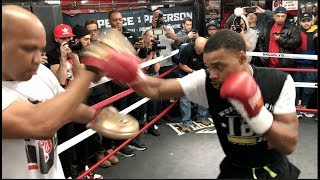 SLICK! ERROL SPENCE JR (FULL & COMPLETE) PAD WORK @ MEDIA WORKOUTS / SPENCE v PETERSON