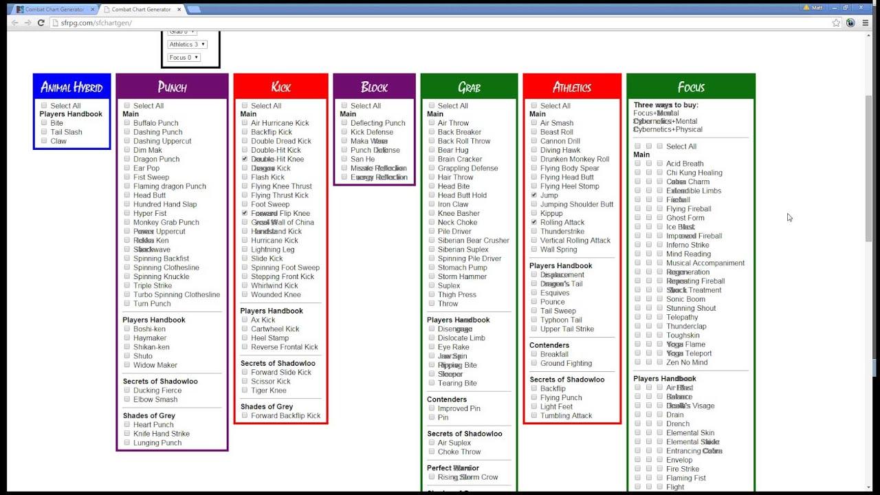 Combat Chart Generator - SFRPG com