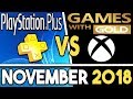 PS+ VS Xbox Games With Gold FREE Games for November (PS+ NOVEMBER 2018 / GWG NOVEMBER 2018)