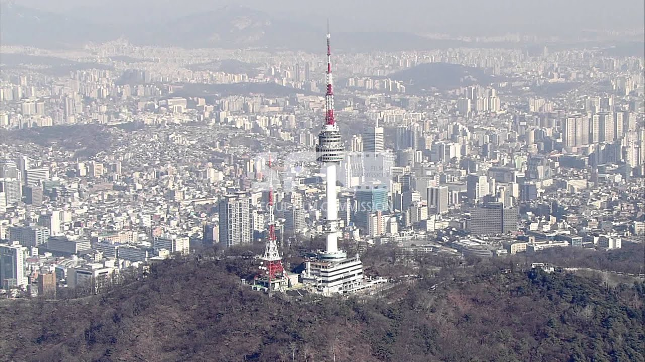Seoul Aerial Stock Footage sample - N Seoul Tower - YouTube