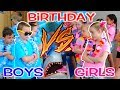 BOYS vs GIRLS! Twins Birthday Party Challenge! Kids Fun TV
