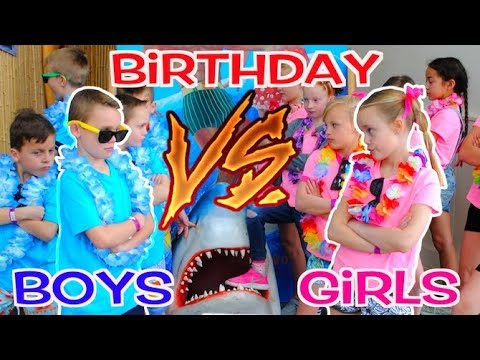 boys vs girls twins birthday party challenge kids fun tv youtube