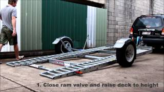 Raceking Car Trailers - Just 4 Degrees loading without ramps. Race car trailer. Brisbane Australia.