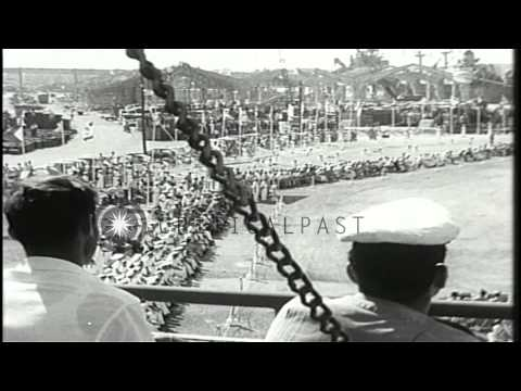 Israeli Prime Minister David Ben Gurion reviews Israeli sailors before they board...HD Stock Footage