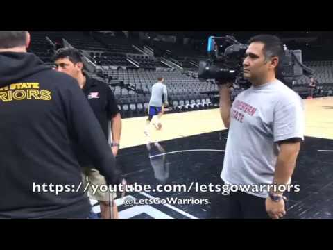 Steph Curry running, dribbling and shooting, from San Antonio after practice day before Game 3
