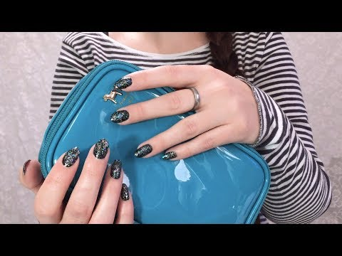 [ASMR] »Sticky« Makeup Bag Tapping   Sticky Plastic Tapping & Tingly Makeup (No Talking)